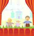 Puppet theater Family of mom dad and daughter are vector image
