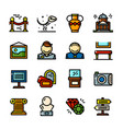 thin line museum icons set vector image