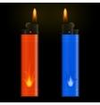 Burning lighters on black background vector image