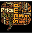 Collector stamp prices text background wordcloud vector image