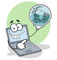 Laptop Holding a Globe vector image vector image