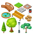 isometric summer park landscape elements set vector image