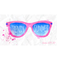 Watercolor pink sunglasses on a crumpled paper vector image