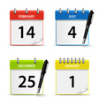 Calendar web colored icons template vector image
