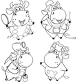 Happy cows Clip Art Cartoon Coloring book vector image