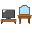 Lcd tv with dressing table vector image