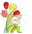 tulips flowers vector image vector image