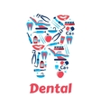 Dentistry symbols in the shape of tooth vector image