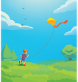 kid with kite vector image vector image