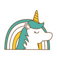 cute fantasy unicorn with rainbow character vector image