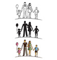 family silhouette on white background vector image
