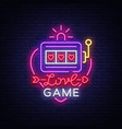 love game neon sign casino slot machines vector image