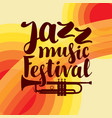 Poster for jazz festival live music with trumpet vector image