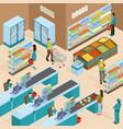supermarket isometric design concept vector image