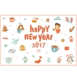 Cute Christmas card with a lot of holiday symbols vector image