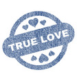 true love stamp seal fabric textured icon vector image