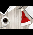Office Background with Santa Hat Tablet and Office vector image vector image