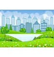 Green City Landscape with tree lake and flowers vector image