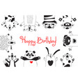 birthday card with funny animals pig bear fox vector image