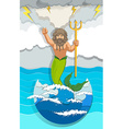 Male mermaid holding trident vector image