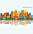 madison skyline with color buildings blue sky and vector image