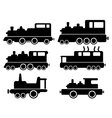 set with cargo train silhouette vector image