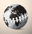 Paper People Holding Hands around Globe - Earth vector image vector image