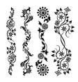 set black swirl floral pattern vector image vector image
