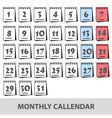 monthly wall calendars with days icons set eps10 vector image