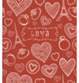 Seamless hearts pattern Valentines day vector image