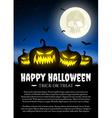 Halloween pumpkin on grass with moon vector image