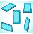 3d isometric mobile phone design in flat style vector image