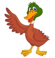 Cute duck cartoon waving vector image