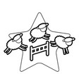cute lambs jumping the fence vector image