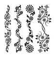 Set black swirl floral pattern vector image