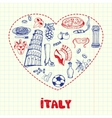 Italy Pen Drawn Doodles Collection vector image