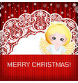 Christmas decorations on handmade knitted vector image