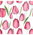 seamless floral decorative pattern with tulips vector image vector image
