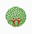 green tree people symbol for community team help vector image