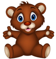 cute baby brown bear cartoon sitting vector image vector image