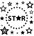 Set of Black and White stars circle vector image vector image