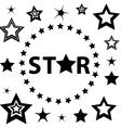 Set of Black and White stars circle vector image