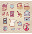 vintage drawn objects vector image vector image