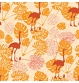 Seamless vintage pattern with ostrich and monstera vector image