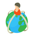 social planet icon isometric 3d style vector image