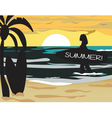 Summer Beach with surfer silhouette vector image