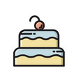 two layered birthday cake icon with cherry on top vector image