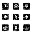 Combat shield icons set grunge style vector image