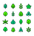 thin line leaves icons set vector image vector image
