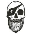 bearded pirate skull with eyepatch vector image